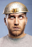Portrait of a man with a colander. On his head Stock Photo