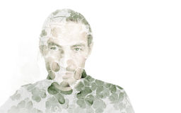 Portrait of a man combined with clover leaves Stock Photo