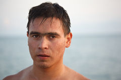 Portrait of man come up from water Stock Image