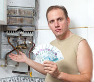 Portrait  man counts money Royalty Free Stock Image