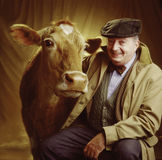 Portrait of man with cow. Both looking at camera stock image