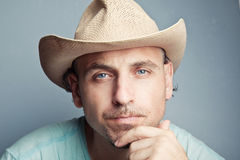 Portrait of a man in a cowboy hat Stock Images