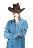 Portrait of Man with cowboy hat isolated on a white background Royalty Free Stock Image