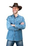 Portrait of Man with cowboy hat isolated on a white background Royalty Free Stock Photo