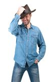 Portrait of Man with cowboy hat isolated on a white background Stock Photos