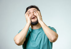 Portrait of man is crying isolated Stock Images