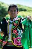 Huayno Dance. Portrait of a man dancing Huayno, a traditional musical genre typical of the Andean region of Peru, Bolivia, northern Argentina and northern Chile Royalty Free Stock Images