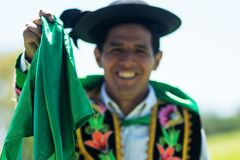 Huayno Dance. Portrait of a man dancing Huayno, a traditional musical genre typical of the Andean region of Peru, Bolivia, northern Argentina and northern Chile Royalty Free Stock Photography