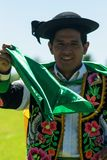 Huayno Dance. Portrait of a man dancing Huayno, a traditional musical genre typical of the Andean region of Peru, Bolivia, northern Argentina and northern Chile Royalty Free Stock Image