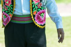 Huayno Dance. Portrait of a man dancing Huayno, a traditional musical genre typical of the Andean region of Peru, Bolivia, northern Argentina and northern Chile Royalty Free Stock Photo