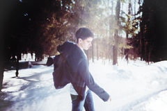 Portrait of a man dancing in snow forest Royalty Free Stock Photos