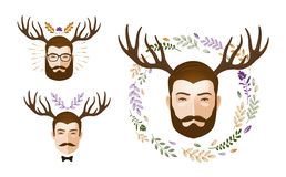 Portrait of man and deer antlers. Surrealism vector illustration. Portrait of man and deer antlers. Vector illustration isolated on white background Stock Photography
