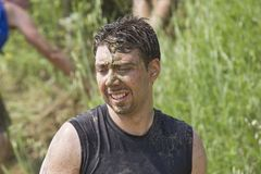 Portrait of a man dirt with mud Royalty Free Stock Images
