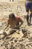 Portrait of a man dirt sit in the mud Royalty Free Stock Photos