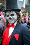 Mexico City, Mexico, ; October 26 2016: Portrait of a man in disguise at the Day of the Dead parade in Mexico City. Portrait of a man in disguise at the Day of royalty free stock image