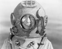 Portrait of man in diving helmet royalty free stock photography