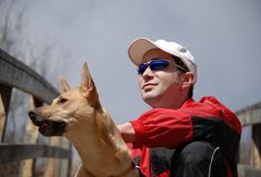 Portrait of man and dog Royalty Free Stock Photos