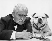 Portrait of man and dog Stock Photo