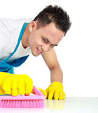 Male doing cleaning Stock Photography