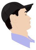 Portrait of a Man dozing. Portrait of man dozing in a baseball cap. Vector illustration royalty free illustration