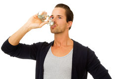 Portrait of man drinking water Royalty Free Stock Images