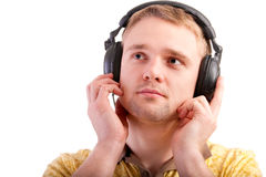 Portrait of man with ear-phones Stock Photography