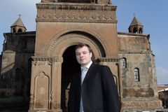 Portrait of man in Echmiadzin Stock Photography