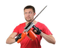 Portrait man with electric saw Stock Photography