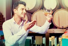 Portrait of  man enjoying liquor sample in glass Stock Photos