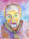 Portrait of a Man. Figure in the avant-garde style. Watercolor p Stock Photo