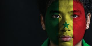 Portrait of a man with the flag of the Senegal painted on his face on black background. Portrait of a man with the flag of the Senegal painted on his face on stock photos