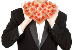 Portrait the man with flowers heart Royalty Free Stock Images