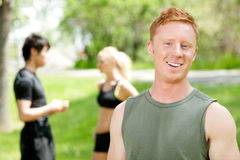 Portrait of a man with friends in the background Stock Images