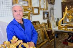 Portrait man in gallery Stock Photos