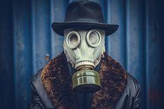 Portrait of man with gas mask. Close up portrait of man with gas mask,selective focus Stock Photos