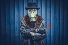 Portrait of man with gas mask. Selective focus Stock Image