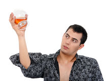 Portrait of a man with a glass of cognac Royalty Free Stock Images