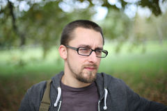 Portrait Of Man With Glasses Autumn Park Stock Photography