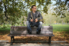 Portrait Of Man With Glasses Autumn Park Royalty Free Stock Images