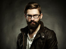 Portrait of man with glasses and beard. Close-up Stock Photography