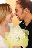 Portrait of man in glasses and beauty blond girl Royalty Free Stock Photos