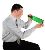 Portrait of man in glasses with a bottle. On white background Stock Photo
