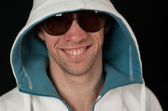 Portrait of Man in glasses and  hood Stock Photo