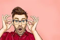 Portrait of man in glasses says wow with open mouth to see something unexpected. Shocked guy with surprised expression. Emotions concept royalty free illustration