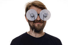 Portrait a man with glasses tape reels of film Stock Photos