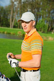 Portrait of man golfer Royalty Free Stock Images