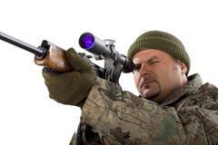 Portrait of a man with a gun on white. Portrait of a man with a gun on a white background Stock Images