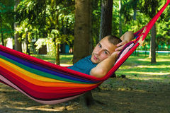 Portrait of a Man in a hammock Royalty Free Stock Photos