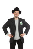 Portrait of a man. Happy young man with hat, isolated over white background Royalty Free Stock Photography