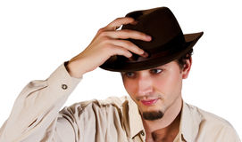 Portrait of a Man in a Hat Stock Photos